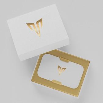 White letterpress business card holder mockup for brand identity 3d render