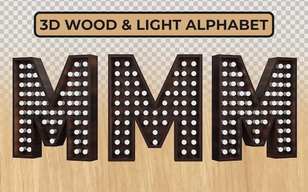 リアルな3d木製アルファベット文字の白い電球