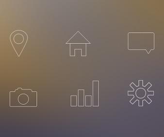 White line icons PSD