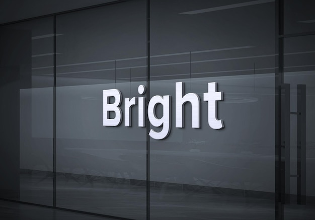회사 유리 벽에 흰색 로고 모형