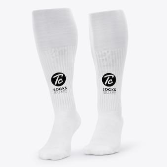 あなたのデザインのために分離された白い長い靴下のモックアップ