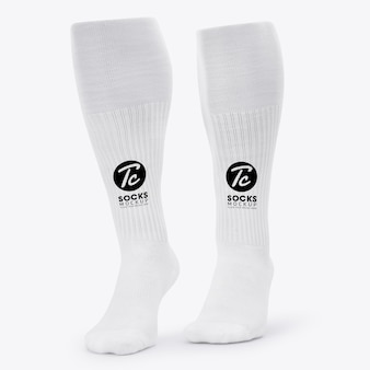 White long socks mockup isolated for your design