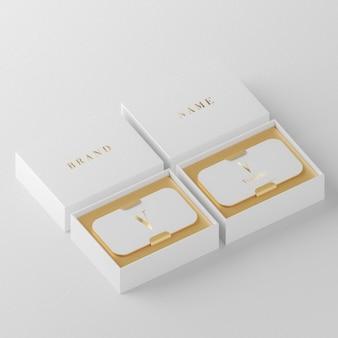 브랜드 아이덴티티 3d 렌더를 위한 흰색 고급 명함 홀더 모형