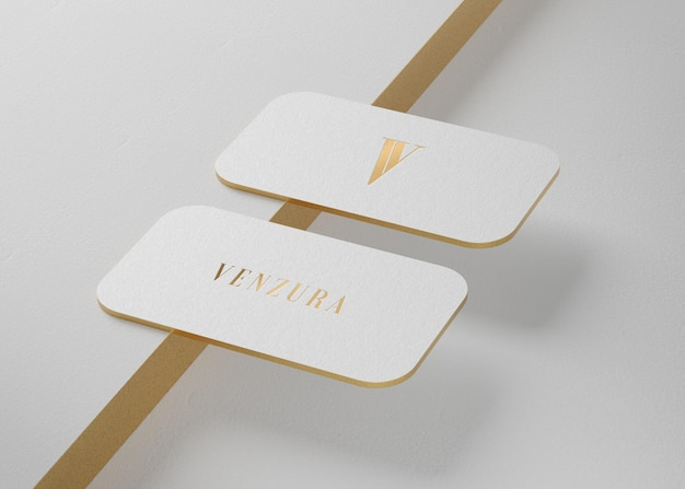 White luxury business card mockup for brand identity 3d render