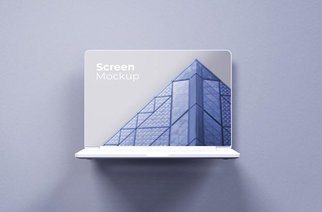 흰색 macbook pro 클레이 모형 전면보기