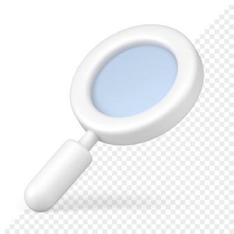 흰색 돋보기 아이콘 3d 렌더링입니다. 검색 및 확장 도구. 과학적 연구와 광학 연구. 상세한 분석 상업 주식 시장 급등과 비즈니스 분석.