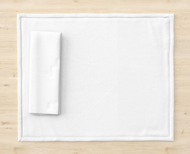 White mat on wooden table