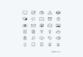 White minimal icons in PSD