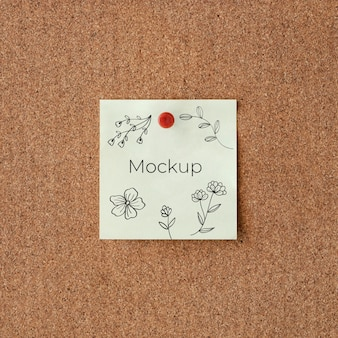 White mock-up card with flowers