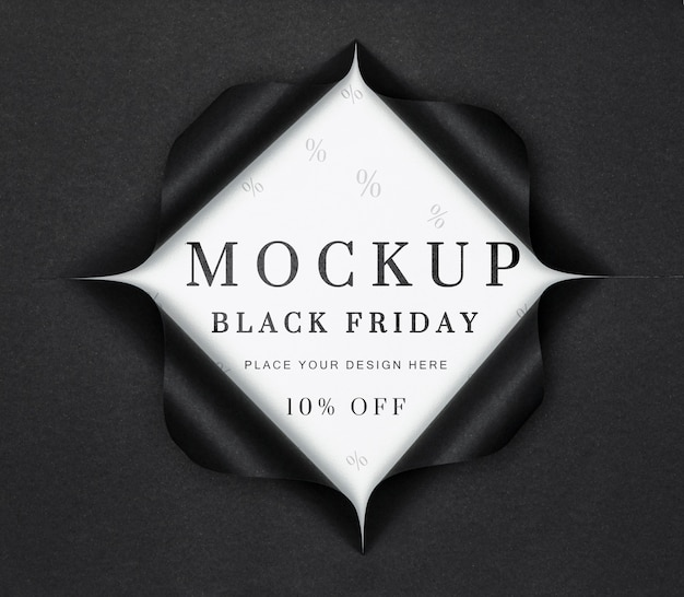 White mock-up and torn paper black friday