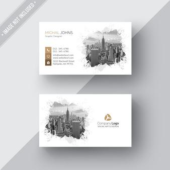 Белая современная визитная карточка