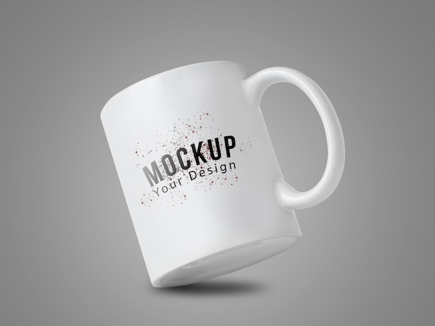 White mug cup mockup for your design on grey background