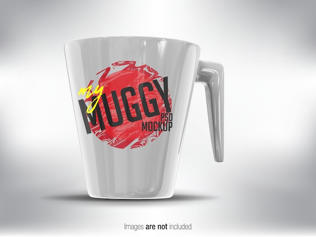 White mug psd mock-up perspective view