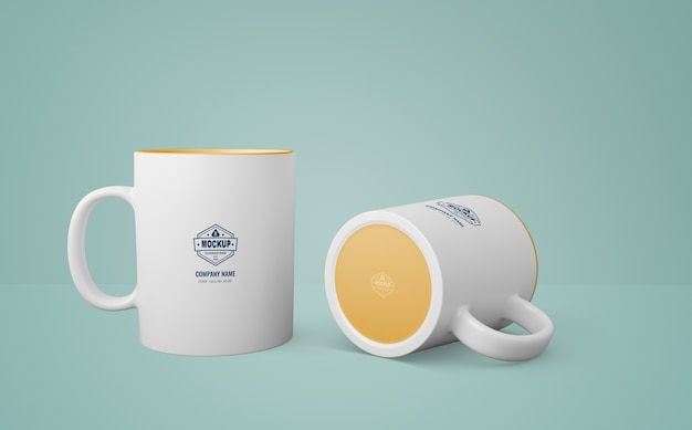 White mug with company logo