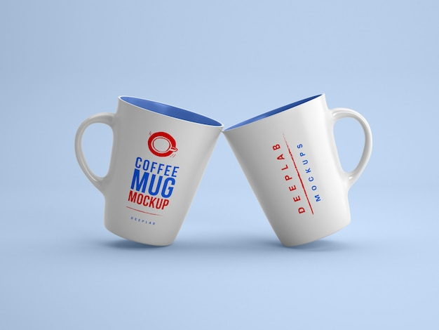 White mugs with editable  color mockup