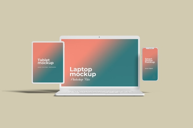 White multi devices mockups front view