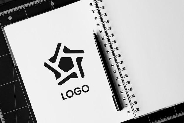 White notebook logo mockup