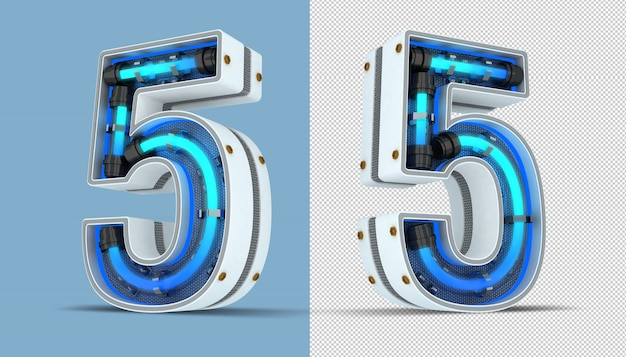 White number neon light 3d rendering illustration