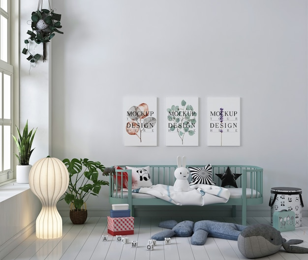 White nursery room with mockup poster frame