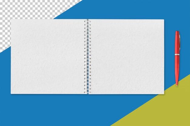Белый открытый блокнот и красная ручка