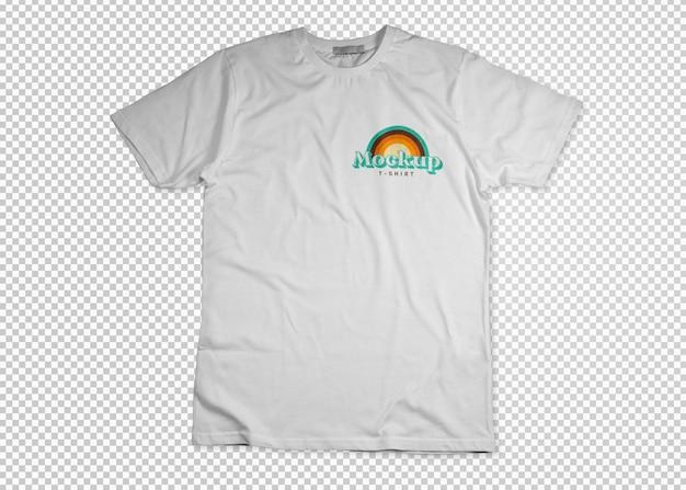 T-shirt bianca aperta su mockup di superficie trasparente