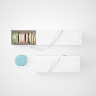 White packages with macarons