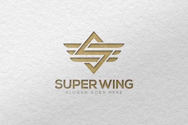 White paper embossed logo mockup template
