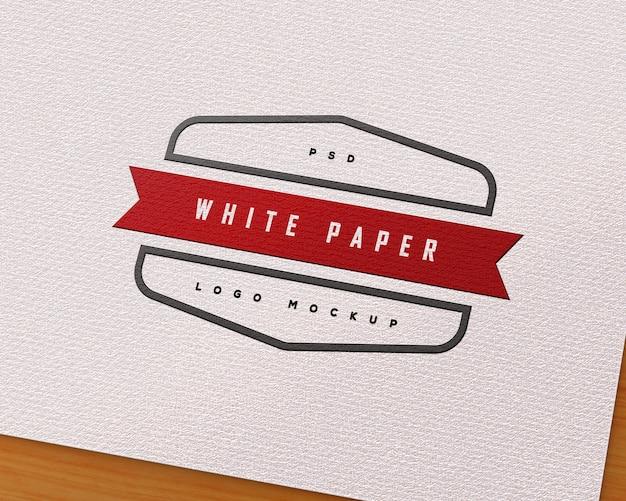 White paper embossed logo mockup
