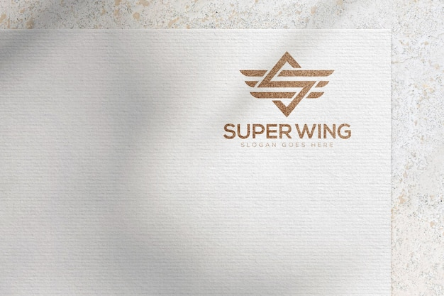 White paper logo mockup template