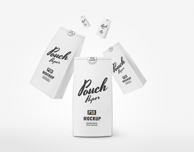 White paper pouch mockup advertising