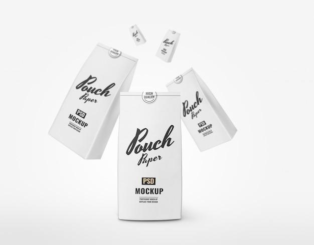 Белая бумажная сумка макет рекламы