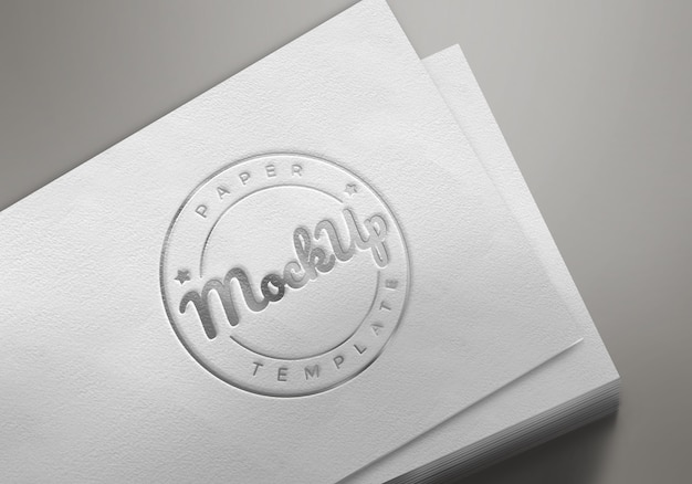 White paper with emboss logo mockup