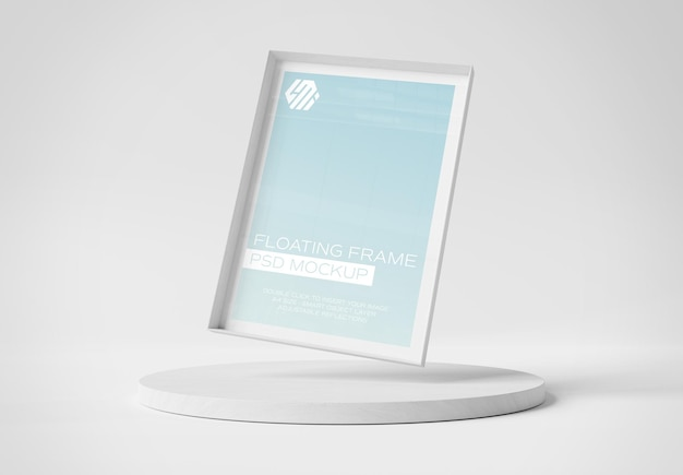 White photo frame floating over podium display mockup