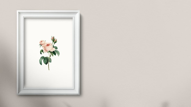 White picture frame hanging on a wall illustration