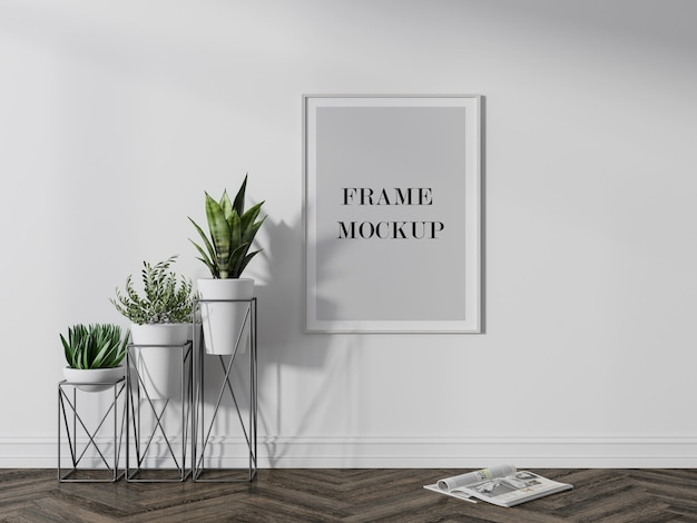 White picture frame mockup beside plants