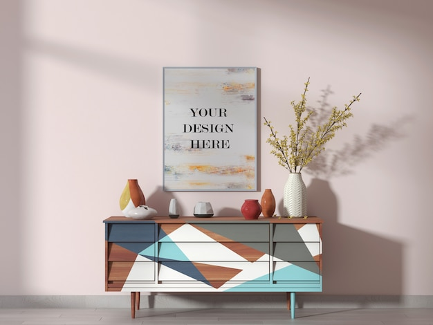 White picture frame mockup on pink wall in bright room with sideboard