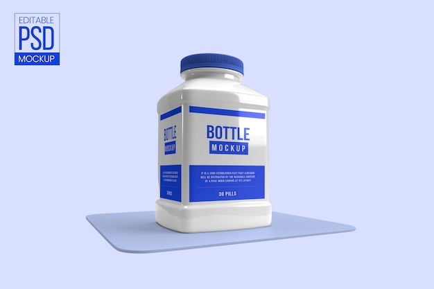 White pill medicine bottle mockup