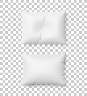 하얀 베개와 주름 베개 빈 서식 파일 투명 배경에 고립. 디자인을위한 베개 모형. 3d 렌더링.
