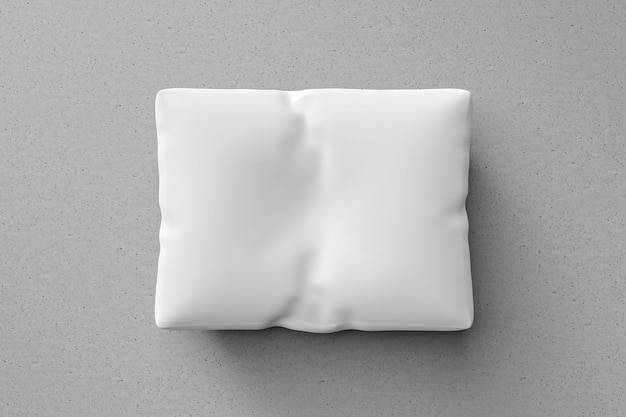 White pillow or pillowcase on floor background with blank template. pillow mockup for design. 3d rendering.