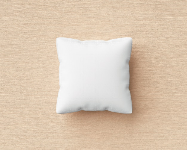 White pillow and square shape on wood floor background with blank template. pillow mockup for design. 3d rendering.