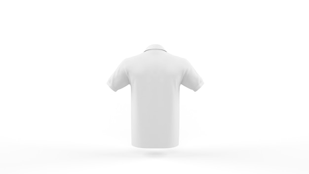 White polo shirt mockup template isolated, back view