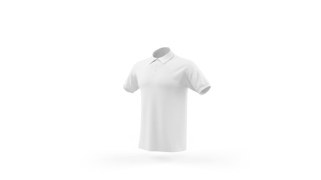 White polo shirt mockup template isolated, front view