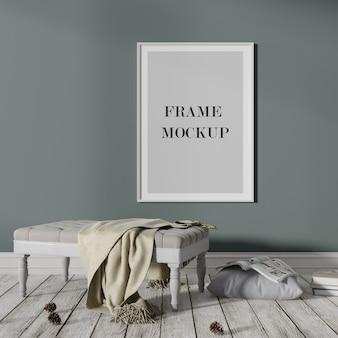 어두운 벽에 흰색 포스터 및 사진 프레임 모형