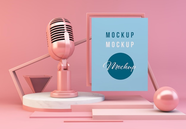 White poster and microphone 3d rendering