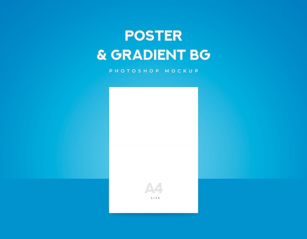 White poster paper or flyer a4 size and blue gradient background