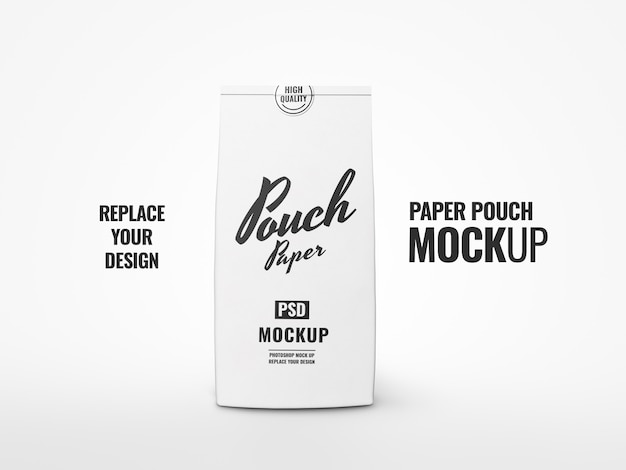 White pouch and sticker mockup