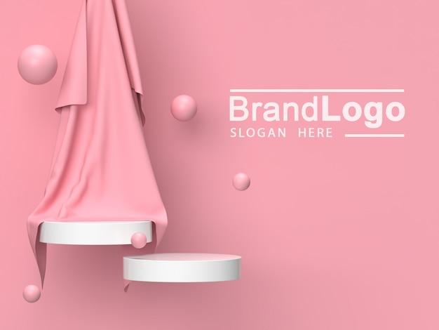 白の製品スタンドとピンクの布