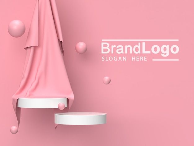 White product stand and pink cloth