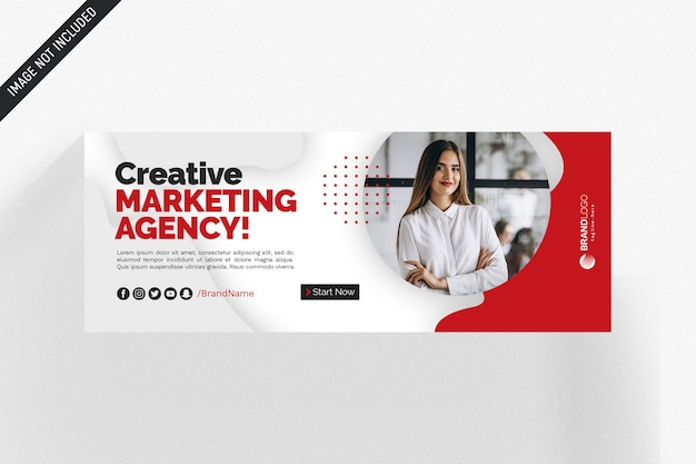 White and red facebook business cover