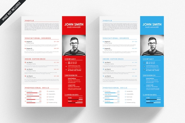 White resume template with blue and red details